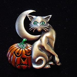 Vintage JJ Jonette HALLOWEEN Pumpkin & Cat Pin